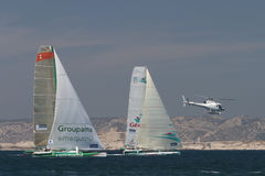 Sailing - Geant and Groupama 3 Trimaran Royalty Free Stock Photos