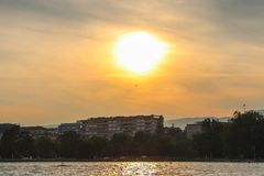 Sunset on lake of Geneva. Sailing at geneva lake, switzerland. Yachts and sailboats on lake Geneva Stock Photography