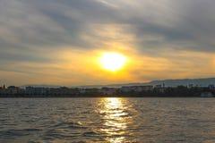 Sunset on lake of Geneva. Sailing at geneva lake, switzerland. Yachts and sailboats on lake Geneva Stock Image
