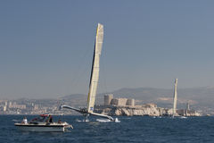 Sailing - Gitana 12 and Gitana 11 Trimaran Royalty Free Stock Image