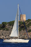 Sailing in Greece. Sailing yacht in the Ionian Greece Royalty Free Stock Photo