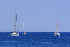 Sailing in Greece. Sailing yachts in the Ionian Greece Stock Photos