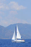 Sailing in Greece. Sailing yacht in the Ionian Greece Stock Images