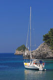 Sailing in Greece. Sailing yacht in the Ionian sea Greece Stock Photo