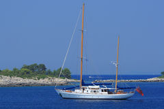 Sailing in Greece. Sailing yacht in the Ionian sea Greece Royalty Free Stock Photo