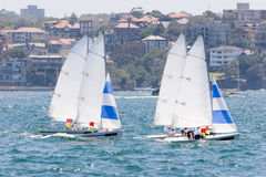 Sailing on the Harbour. Sailing boats racing on the harbour Stock Photo