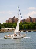 Sailing the Harlem River. In New York City Stock Photography