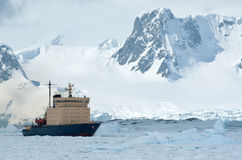 Sailing on an icebreaker iced Antarctic Strait spring Royalty Free Stock Images