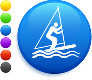 Sailing icon on round internet button Royalty Free Stock Images