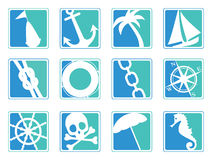 Sailing icons. Set of 12 sailing/marine icons Royalty Free Stock Images