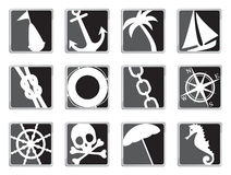 Sailing icons. Set of 12 black and white sailing/marine icons Royalty Free Stock Images