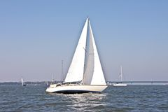 Sailing on the IJsselmeer in the Netherlands. On a beautiful sunny day Stock Photography