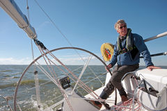 Sailing on the IJsselmeer in the Netherlands. In summer Royalty Free Stock Photo
