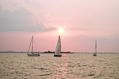 Sailing on the IJsselmeer in the Netherlands. At sunset Royalty Free Stock Photography