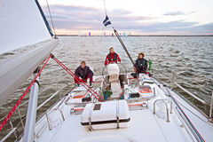 Sailing in the Netherlands at sunset Royalty Free Stock Photography