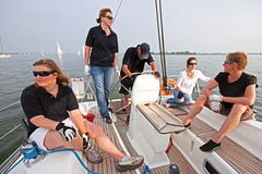 Sailing on the IJsselmeer in the Netherlands. At sunset Stock Photo