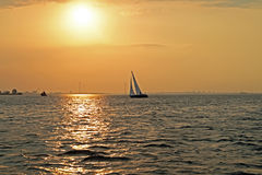 Sailing on the IJsselmeer in the Netherlands. At sunset Royalty Free Stock Image