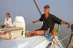 Sailing on the IJsselmeer in the Netherlands. At sunset Royalty Free Stock Images