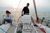 Sailing on the IJsselmeer in the Netherlands. At sunset Royalty Free Stock Photos