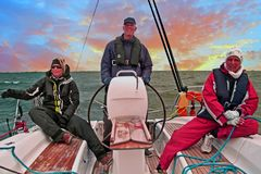 Sailing on the IJsselmeer in Netherlands at sunset Royalty Free Stock Photography
