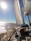 Sailing. In a 44' ketch F&C at Rio de la Plata, Buenos Aires, Argentina. Sunny morning Royalty Free Stock Image