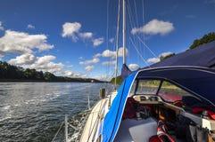 Sailing the Kiel Canal. In september 2016 stock photo
