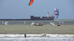 Sailing and kite surfing in sea at Boulogne sur mer Stock Photo