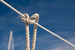 Sailing knot on a yacht Stock Photo