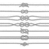 Sailing knots horizontal borders or deviders. Vector marine decorations Stock Images