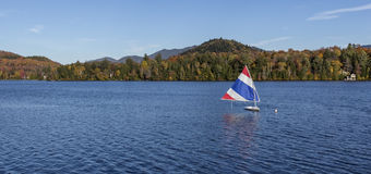 Sailing on a lake in the Adirondacks. New York Stock Photography