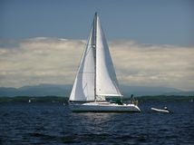 Sailing on Lake Champlain off Burlington. View of Green Mountains from the middle of Lake Champlain Summer of 2005 Stock Image