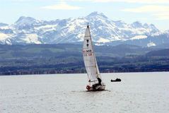 Sailing on the Lake Constance. Sailing boat on the Lake Constance near Friedrichshafen Stock Images