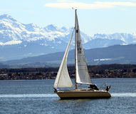 Sailing on the Lake Constance. Sailing boat on the Lake Constance near Friedrichshafen Royalty Free Stock Photos