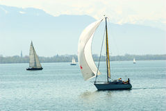 Sailing on the Lake Constance. Sailing boats on the Lake Constance near Lindau Stock Images