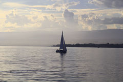 Sailing in the lake Royalty Free Stock Image