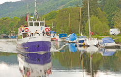 Sailing on Lochness and Caledonian Canal. royalty free stock photography