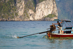 Sailing with a Long tail boat  in Thailand Royalty Free Stock Photos