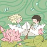 Sailing on the Lotus lake. Boy and Girl sailing on the Lotus lake Stock Images