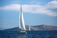 Sailing luxury cruise yacht boats at the Aegean Sea. Greece royalty free stock images