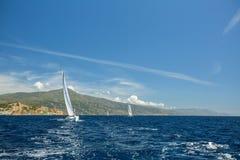 Sailing Luxury yachts at Aegean Sea. Royalty Free Stock Photography