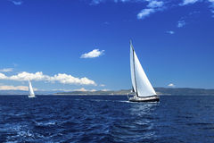 Sailing on luxury yachts in the waters of the Aegean Sea. Travel. Royalty Free Stock Images