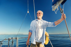 Sailing man captain Stock Photo