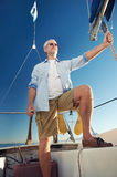 Sailing man captain Stock Photos