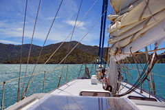 Sailing on the Marlborough Sounds, New Zealand Stock Image