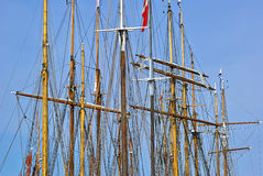 Sailing masts of wooden tallships Stock Photography