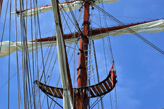 Sailing masts of wooden tallships Stock Images
