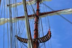 Sailing masts of wooden tallships Stock Images