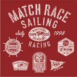 Sailing match racing team. Vector print for boy shirt grunge effect in separate layer Royalty Free Stock Photography