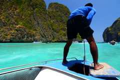 Sailing in Maya bay. Phi Phi islands. Krabi. Thailand Royalty Free Stock Images