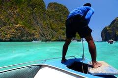 Sailing in Maya bay. Phi Phi islands. Krabi. Thailand Royalty Free Stock Images